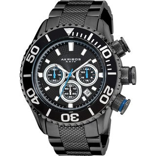 Stainless-steel Akribos Men's Large Diver's Chronograph Black Bracelet Watch