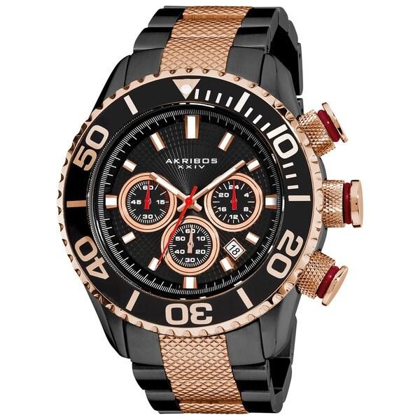 Etched Akribos Men's Large Diver's Chronograph Bracelet Watch