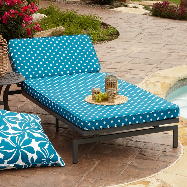 alyssa blue dot adjustable outdoor chaise with corded