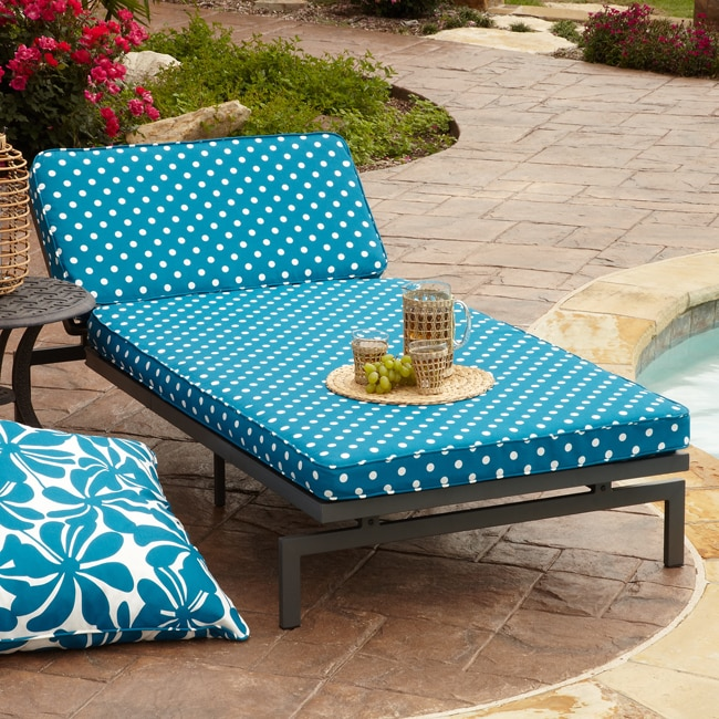 Alyssa blue dot adjustable outdoor chaise with corded for Alyssa outdoor chaise lounge
