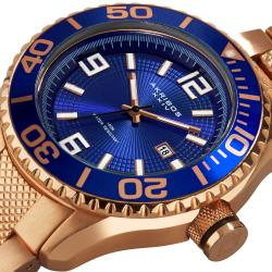 Akribos XXIV Men's Rose-Tone Stainless Steel Large Diver's Watch