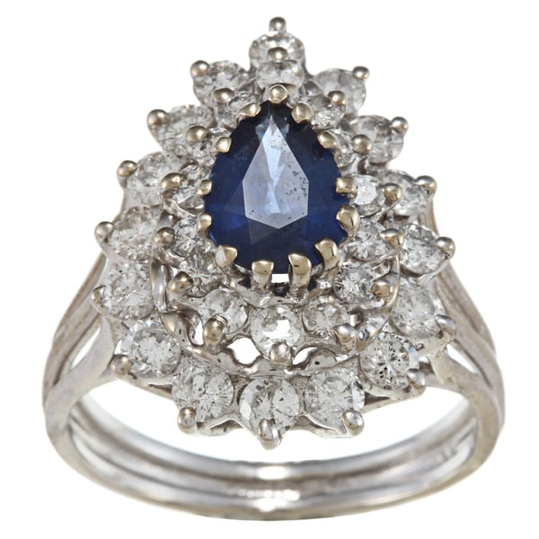 14k Gold Sapphire and 1 1/4ct TDW Diamond Estate Ring (I-J, SI1-SI2)