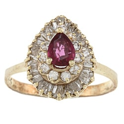 14k Gold Ruby and 2/5ct TDW Diamond Estate Ring (I-J, SI1-SI2)
