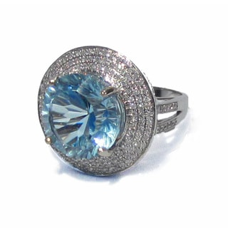 14k White Gold Aquamarine and 1 1/4ct TDW Diamond Ring (H-I, SI1-SI2)