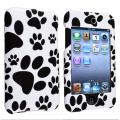 Black/ White Paw Snap-On Rubber-Coated Case for Apple iPod Touch Generation 2/ 3