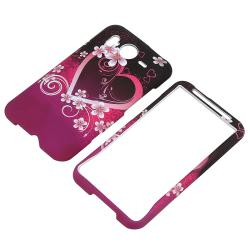 INSTEN Purple Heart Rubber Coated Phone Case Cover for HTC Inspire 4G/ Desire HD