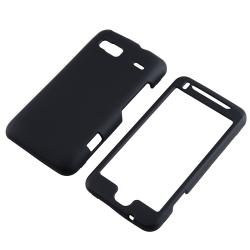 INSTEN Black Snap-on Rubber Coated Phone Case Cover for HTC Desire Z/ T-Mobile G2