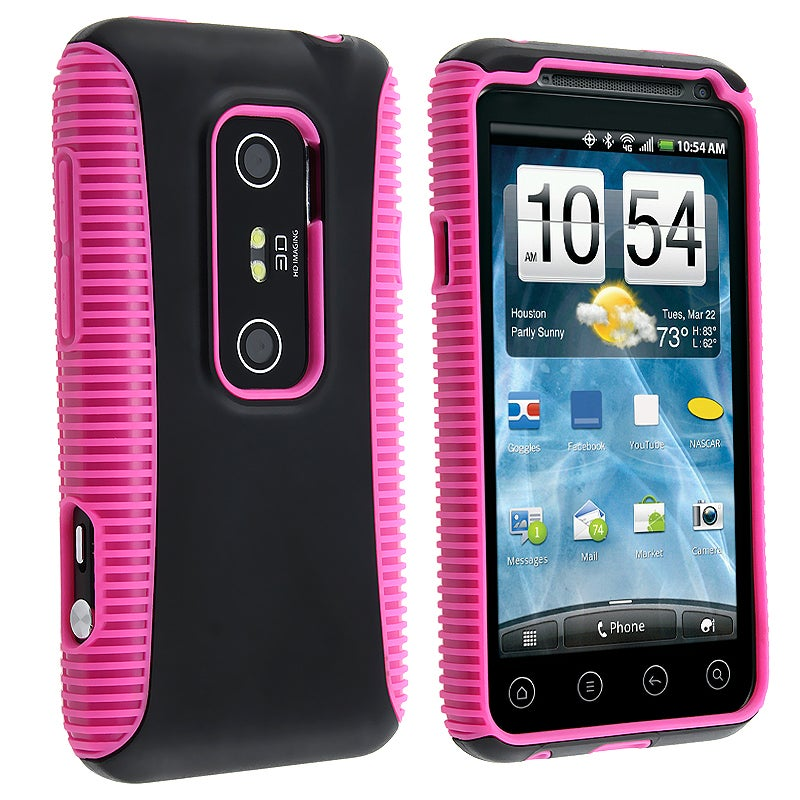 INSTEN Hot Pink TPU/ Black Hard Plastic Hybrid Phone Case Cover for HTC EVO 3D