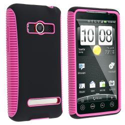 BasAcc Hot Pink TPU/ Black Hard Hybrid Case for HTC EVO 4G