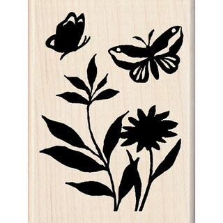 Inkadinkado 'Butterfly Flowers' Mounted Rubber Stamp
