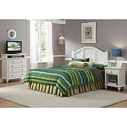 Bermuda Headboard, Night Stand, and Media Chest Brushed White Finish