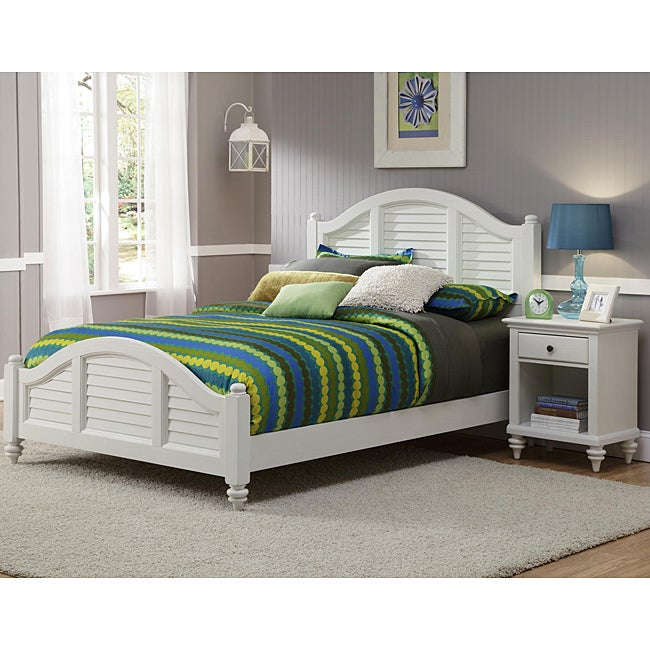 Bermuda Queen Bed and Night Stand Brushed White Finish