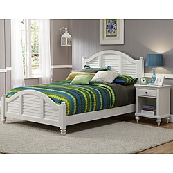 Home Styles Bermuda Queen Bed and Night Stand Brushed White Finish