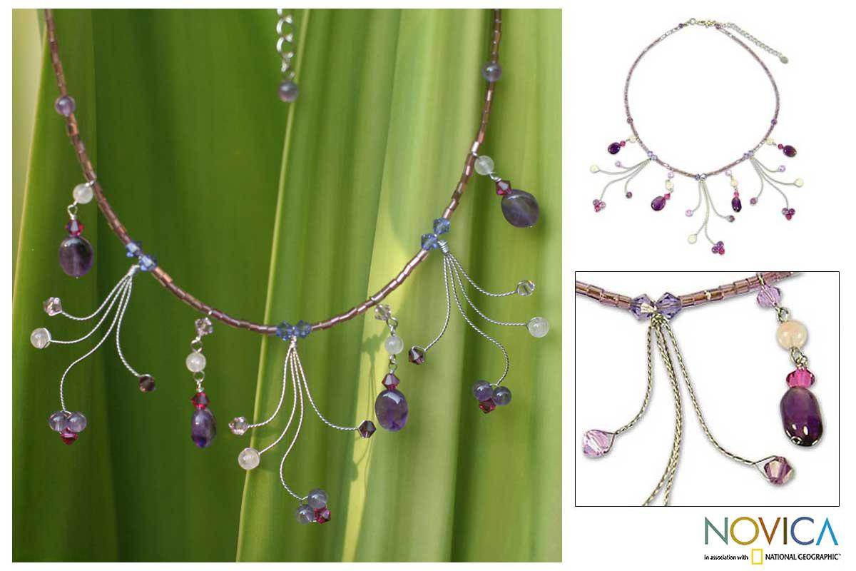 Rose Quartz 'Jungle Dancer' Amethyst Waterfall Necklace (Thailand)