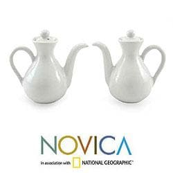 Set of 2 Ceramic 'Minimal White' Oil and Vinegar Pitchers (Indonesia)