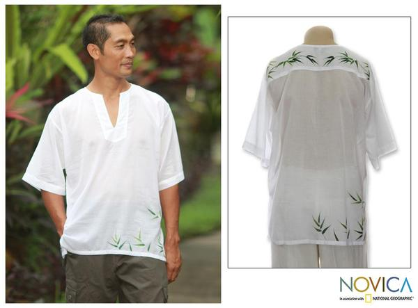 Men's Cotton 'Bamboo Jungle' Shirt (Indonesia)