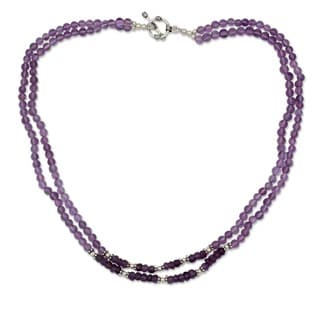 Sterling Silver 'Agra Lilac' Amethyst Necklace (India)