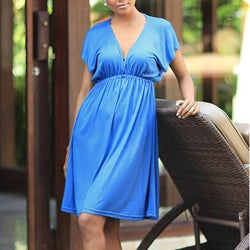 Rayon Jersey 'Blue Denpassar Chic' Dress (Indonesia)