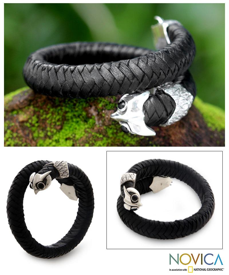 Men's Sterling Silver 'Owl' Onyx and Leather Bracelet (Indonesia)