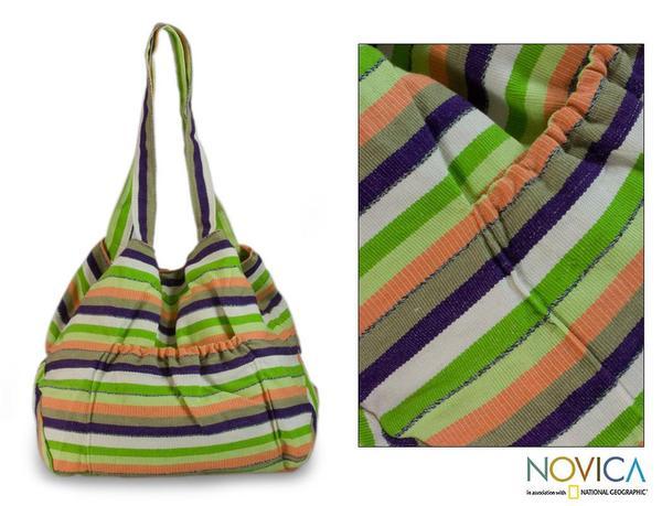 Handcrafted Cotton 'Peten Summer' Large Shoulder Bag (Guatemala)