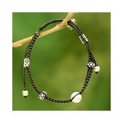 Sterling Silver 'Sonnets of Peace' Macrame Bracelet (India)