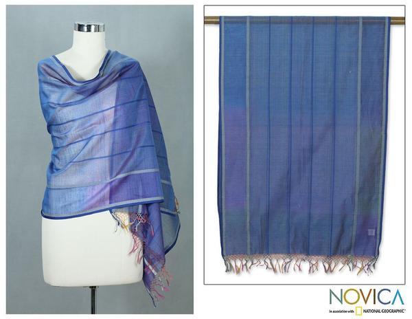 Cotton and Silk 'Maheshwari Blue' Shawl (India)