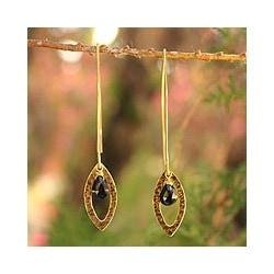 Gold Overlay 'Petal' Onyx Dangle Earrings(Thailand)