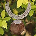 Leather 'Gray Tribal Glam' Coconut Wood Necklace (Thailand)