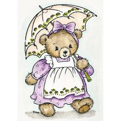 Stampavie Tina Wenke Clear Stamp-Bear With Parasol