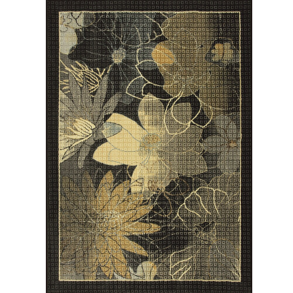 Somette Mixed Feelings Woven Black Rug (5' x 7')