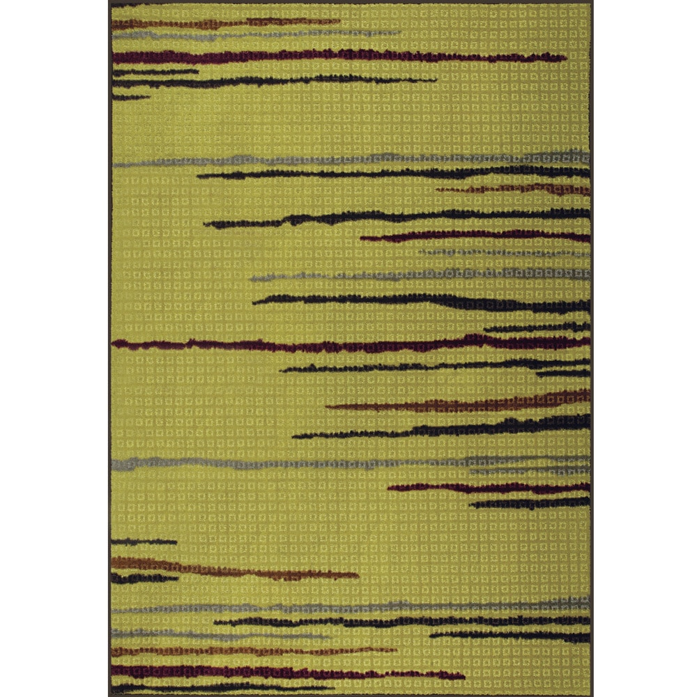 Somette Floating Lines Woven Green Rug (5' x 7')