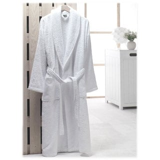 Salbakos Bright White Shawl Collar Turkish Combed Cotton Terry Robe