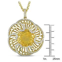 Miadora 14k Yellow Gold 10ct TGW Citrine and 1ct TDW Flower Pendant (G-H, SI1)