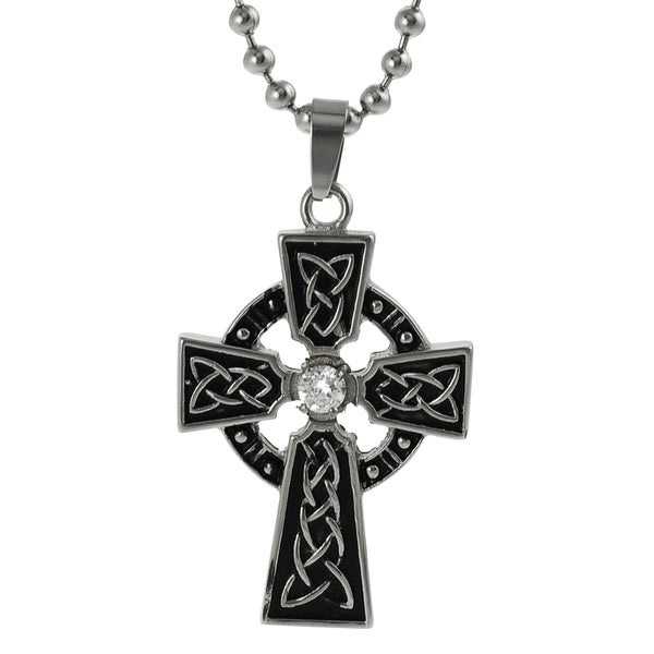 Journee Collection Stainless Steel Cubic Zirconia Cross Necklace