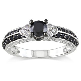 Miadora Milgrain-finished Sterling Silver 1ct TDW Black and White Diamond Ring (H-I, I2-I3)