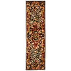 Safavieh Handmade Empire Royal Blue/ Burgundy Wool Rug (2'3 x 12')