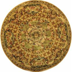 Handmade Classic Empire Taupe/ Light Green Wool Rug (6' Round)