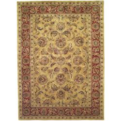 Handmade Amol Gold/ Red Wool Rug (9'6 x 13'6)