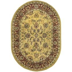Handmade Amol Gold/ Red Wool Rug (7'6 x 9'6 Oval)