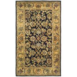 Handmade Classic Black/ Gold Wool Rug (2'3 x 4')