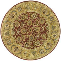 Safavieh Handmade Classic Rust/ Beige Wool Rug (6' Round)