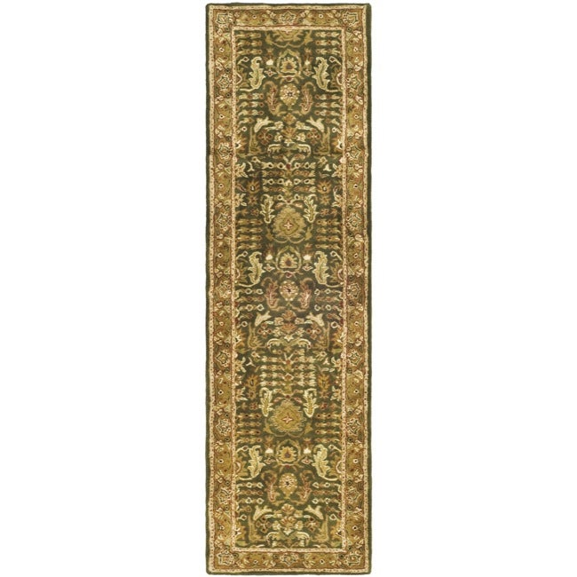 Safavieh Handmade Classic Light Green/ Gold Wool Runner (2'3 x 10')