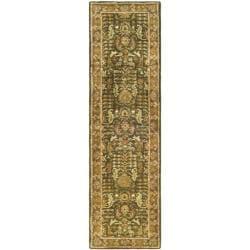 Handmade Classic Light Green/ Gold Wool Runner (2'3 x 10')