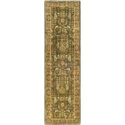 Handmade Classic Light Green/ Gold Wool Runner (2'3 x 8')