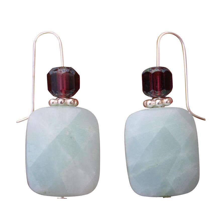 Beadwork By Julie Amazonite and Czech Glass Earrings