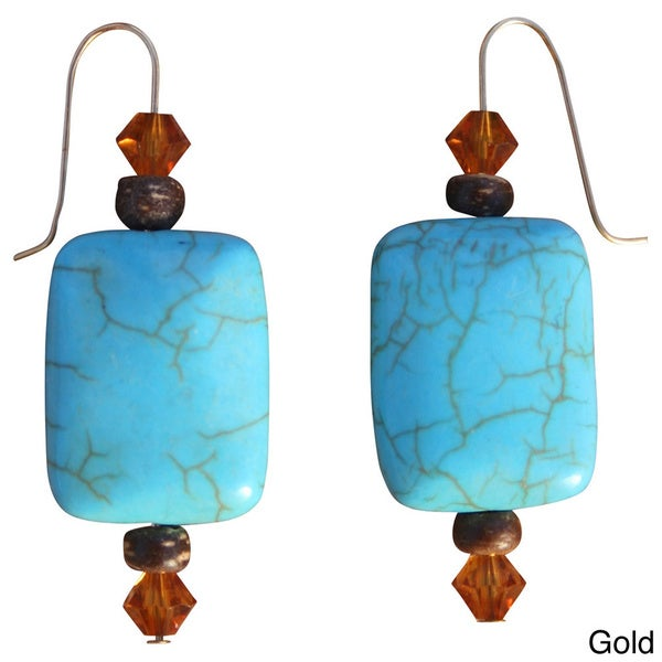 Beadwork By Julie Nevada Pilot Mountain Blue Turquoise and Crystal Earrings 9142599