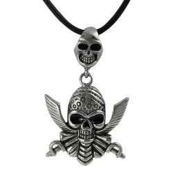 Journee Collection Stainless Steel Double Skull Pirate Necklace