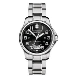 Victorinox Swiss Army Men's Officer's Automatic Black Dial Stainless Bracelet Watch