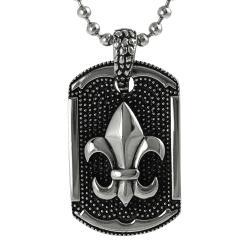 Journee Collection Stainless Steel Fleur de Lis Vintage Tag Necklace