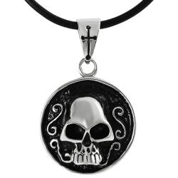 Journee Collection Stainless Steel Skull Disc Necklace